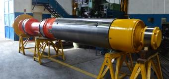 MANDRIL COMPLETO Ø 767 x 7500 mm - FLANGE Ø 1180 mm COM CILINDRO HIDRÁULICO – 18,4 TONELADAS PARA BOBINADEIRA DE LTQ – Laminador de Tiras a Quente